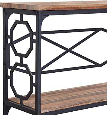O&K Furniture Entryway Table with Storage Shelf, Rustic Narrow Sofa Console Table for Living Room, Hallway (Brown Finish)