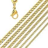 DonDon Collar de Acero Inoxidable masivo de Color Oro para Hombres Longitud 52 cm - Ancho 0,4 cm