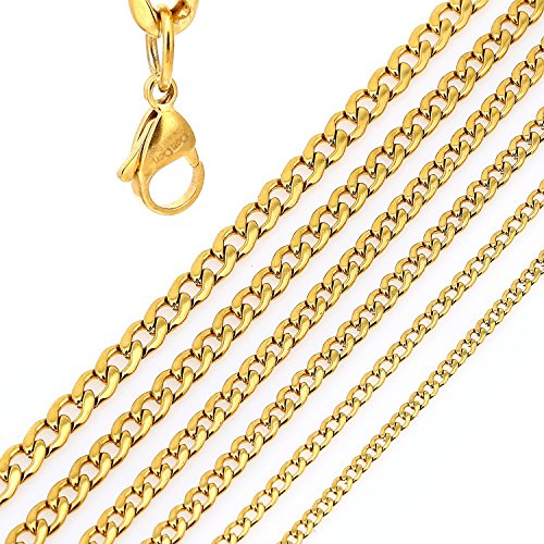 DonDon Collana a Maglie Larghe Uomo in Acciaio Inox Colore Oro Lunghezza 52 cm - Ø 0,4 cm
