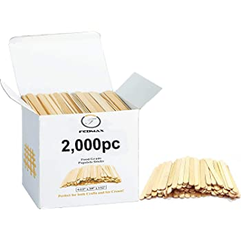"""Popsicle Sticks, (2,000pc), 4-1/2"""" Length, Food Grade Wooden Ice Cream Sticks, Great Bulk Sticks for Crafts, by Fedmax. (2,000pc)"""