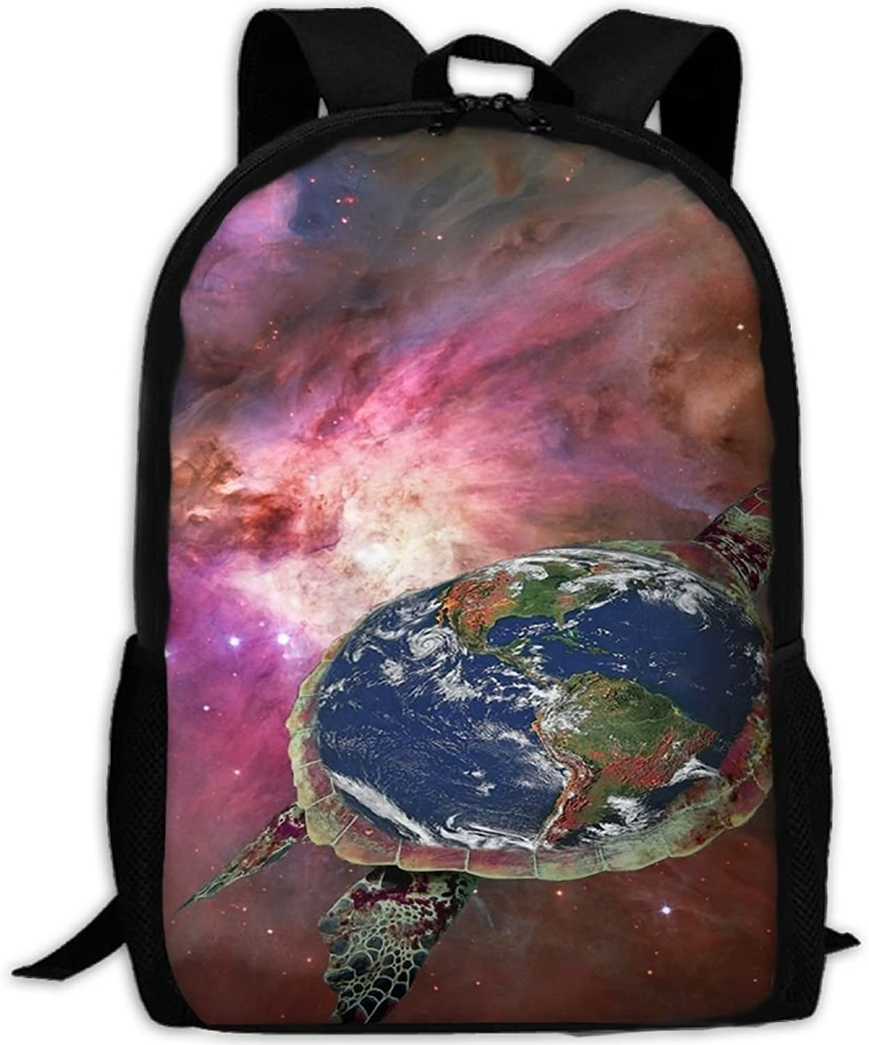 Adult Backpack Sea Turtle Planet College Daypack Oxford Bag Unisex Business Travel Sports Bag with Adjustable Strap