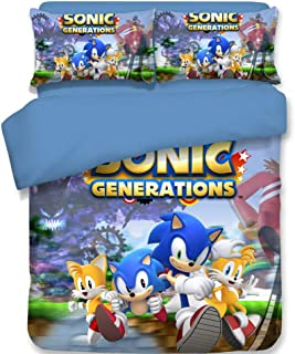 HIMFL 3 Pieces Bedding Set 3D Print Hedgehogs Sonic Pattern Duvet Cover Set with 2 Pillowcases 100% Microfiber for Teens Children Adult