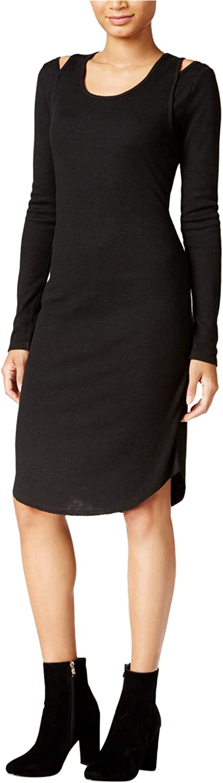 Rachel Roy Womens Ribbed Cutout Midi Dress, Black, XX-Large