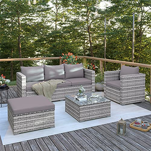 6 Piece Outdoor Patio Furniture Sets, Garden Conversation Wicker Sofa Set, and Patio Sectional Furniture Sofa Set with Coffee Table and Cushion for Lawn, Backyard, and Poolside, Gray Gradient