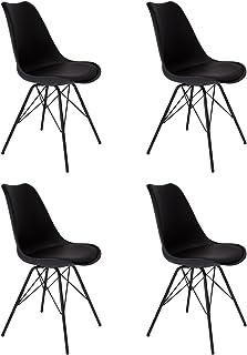 SAM Juego de 4 sillas de comedor Lerche, color negro, cojín integrado de piel sintética, patas de metal negras, estilo escandinavo