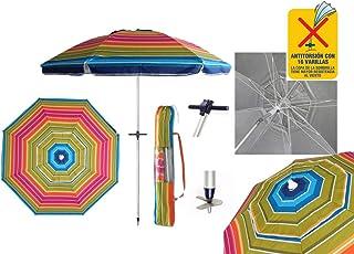 comprar comparacion Pincho Sombrillas Playa 2m Aluminio UPF+50 99% UV Punta de Aluminio Reforzado 16 Varillas-Anti torsión. (Colores)
