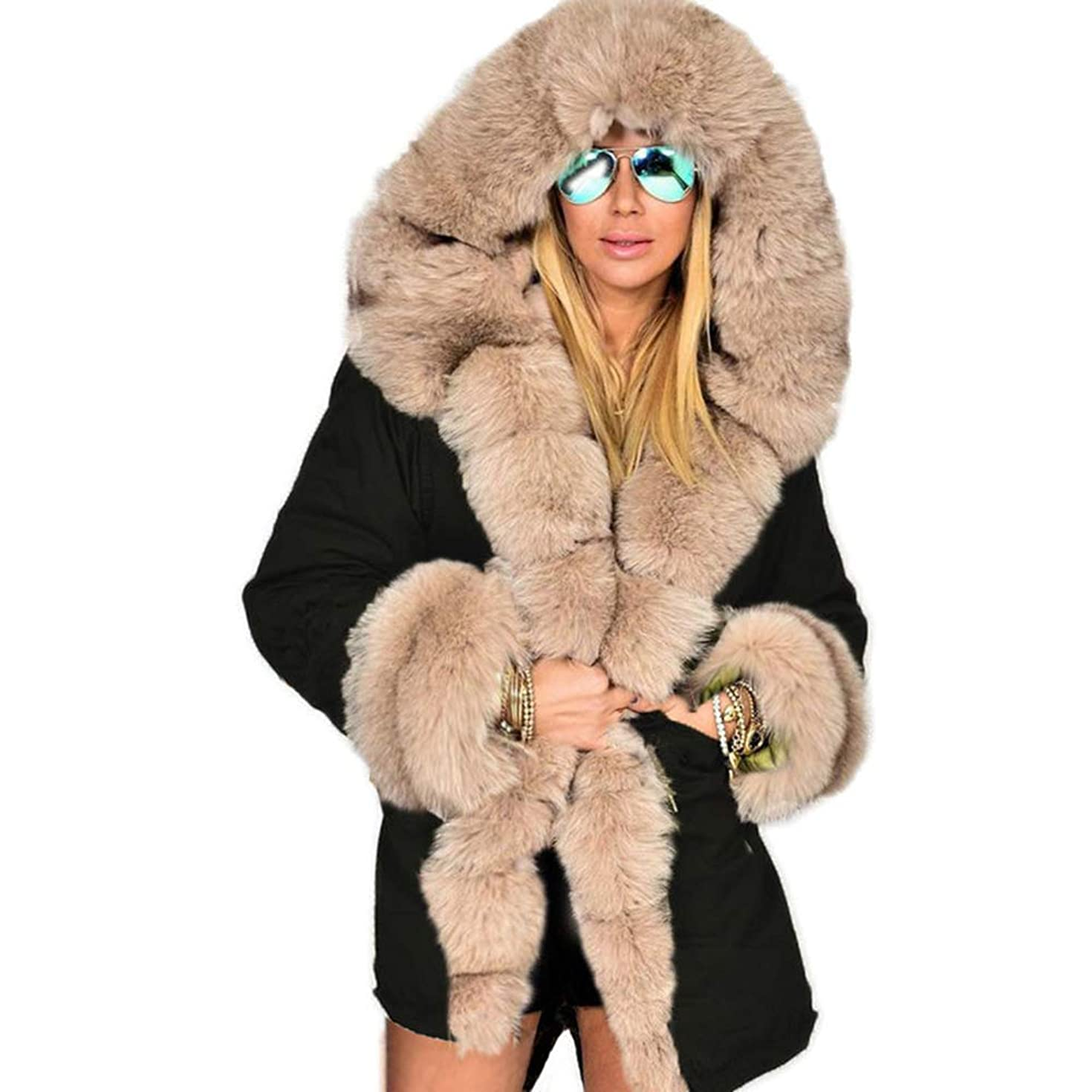 更新クリスチャン手のひら冬ジャケット女性ファッションフードコートフェイクファーカラーコットンフリースウォームコートパーカスパーカープラスサイズロングコート,XL