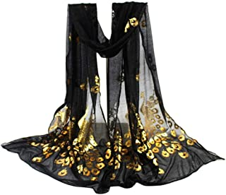 Tsmile Women Lightweight Large Blanket Wrap Shawl Scarfs Peacock Design Flower Embroidered Lace Soft Long Scarf Wrap