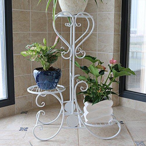 Porte-fleurs multifonctions Support de fleur de fer Support de fleur de style étage multi-étages Support de pot de fleur balcon intérieur Cadre de bonsaï pliage simple moderne (3 couleurs en option) (