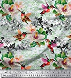 Soimoi Grüne Satin Seide Stoff Blätter, Kolibri & Weiße