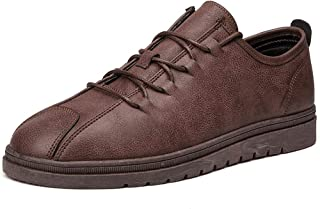 Shangruiqi Athletic Shoes for Men Casual Sports Shoes Lace Up Style Microfiber Lightweight Breathable Simple and Pure Color Outsole Anti-Wear (Color : Brown, Size : 8 UK)