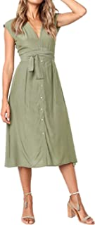 Women's Vintage V Neck Striped Print Tie Waist Button Cap Short Sleeve Midi Dress Beach Party Summer Dress