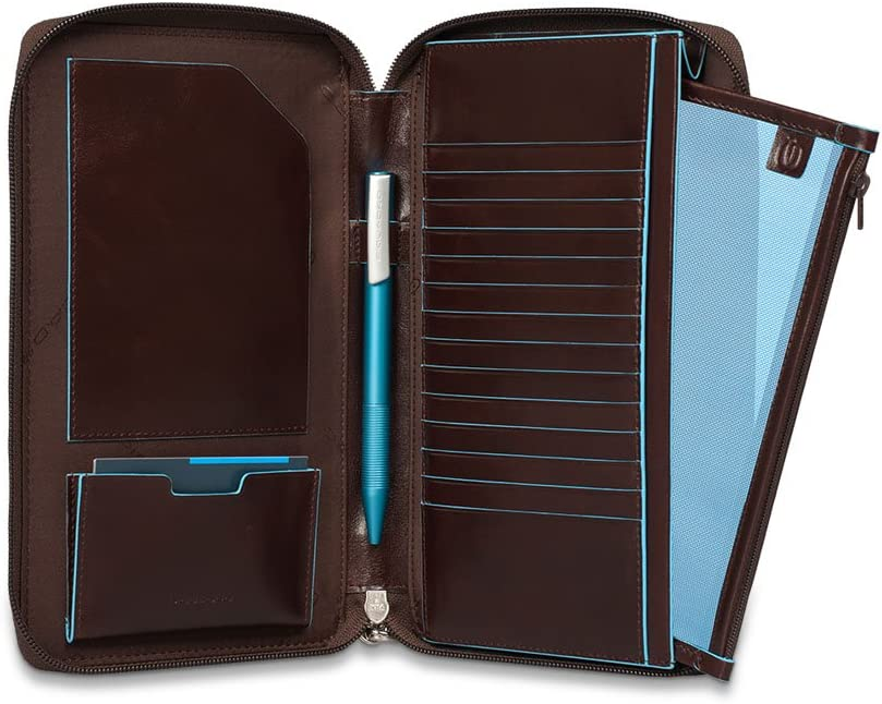 Piquadro Travel Document Holder with Credit Card Slots Dark Blue Pen Loop and Removable Pochette