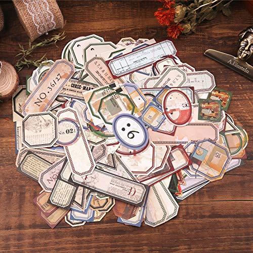 Lychii Scrapbooking Stickers, 320pcs Dekoration Papier Aufkleber, Vintage Design Klebstoffe Aufkleber für Craft Scrapbook Album, Kalender Planer, DIY, Bullet Journal