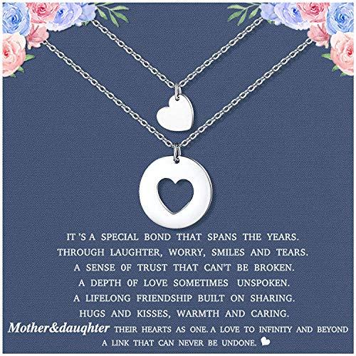 Cheerslife Mutter Tochter Kette für 2 passende ausgeschnittene Herz Anhänger Halsketten Muttertagsgeschenke für Frauen Mutter Tochter Geschenkfür Mama und mich