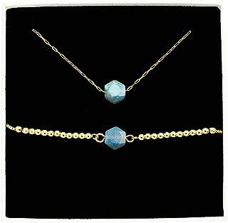 ايوكوين المرأة قلادة سوار مجموعة المجوهرات اليدوية الحجر الطبيعي الخرزة 18 كيلو الذهب الجميلة قلادة قلادة سوار مجوهرات هدية