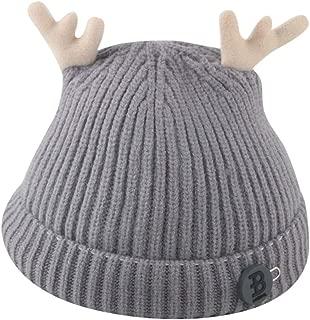Longay Toddler Girl&Boy Baby Infant Winter Cartoon Deer Crochet Knit Hat Beanie Cap (Gray)
