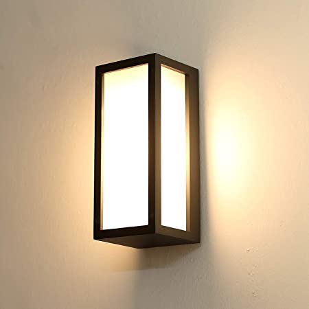 HLFVLITE Outside Wall Light, Max 40W E27 Aluminum Outdoor Wall Lamp Exterior Wall Sconce, IP44 Waterproof, Anthracite Grey