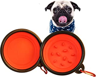Dog Bowls Slow Feed Cat Bowl Silicone Portable Foldable Water Food Storage Containers Pet Travel Bowl with Carabiner 4 Cup 2 Pack Red