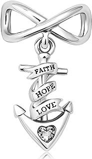 سحر الخرزة البحرية مرساة إنفينيتي الإيمان الأمل الحب سحر سحر الأساور (أبيض)