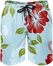 Zwembroek voor heren, strandshorts, Hawaii Aloha tropische bloemen, hibiscus-zwemshort, moderne 3D-print met mesh-voering,...