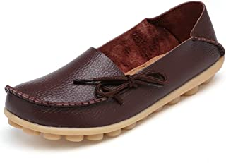 Veveca Women Comfortable Ladies Round Toe Casual Moccasins Wild Breathable Slip-On Driving Flats Shoes Leather Loafers Shoes