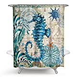 ECONIE Seahorse Shower Curtain Ocean Animal Waterproof Polyester Blackout Draperies Window Solid Grommet with 12 Hooks for Bedroom Living Bathroom 71 x 71(10)