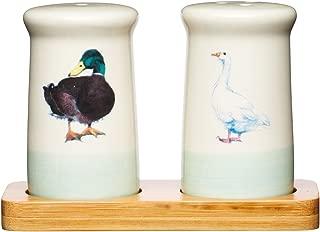 KitchenCraft Apple Farm Hand Finished Vintage Ceramic Salt and Pepper Set Pots Cream/Green