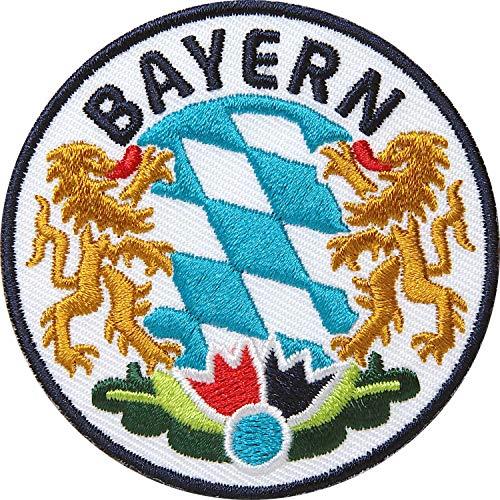 2 x Bayern Abzeichen gestickt 65 mm / Bavaria München bayerisch Land Alpen Berge Outdoor Wandern Heimat Reisen / Aufnäher Aufbügler Flicken Sticker Bügelbild Patch Wappen Emplem zum Aufbügeln Aufnähen