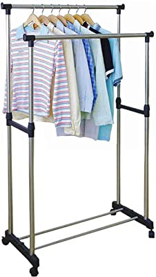 STAR WORK Foldable 3 Tier Clothes Drying Rack Rolling Collapsible Laundry Dryer Hanger Stand Rail Indoor Outdoor Blue