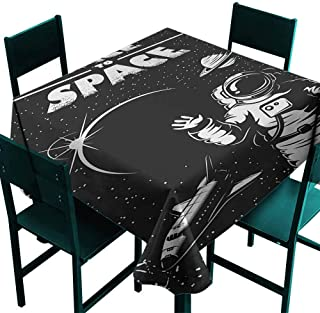 Warm Family Astronaut Dustproof Tablecloth The Race to Space Retro Image with Space Crafts Planets Astronaut vs Cosmonauts Great for Buffet Table W50 x L50 Black White