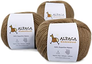 100% Alpaca Yarn Wool Set of 3 Skeins Fingering Lace Worsted Weight - Heavenly Soft and Perfect for Knitting and Crochetin...