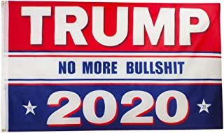 Oniche Trump Flag 3x5 Feet Donald Trump for President Printed Flag Vivid Color Polyester Flags with Brass Grommets (No More Bullshit Flag)