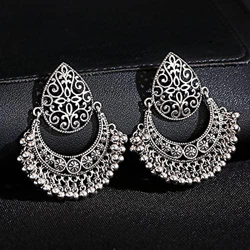 FEARRIN Pendientes Simples Verano Vintage Color Plata Pendientes de Perlas Pendientes tallados para Mujer Pendientes Decorativos de Verano Style4