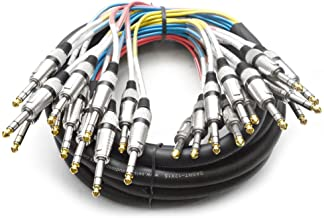 """12 Channel 1/4"""" TRS Snake Cable - 15 Feet Long - Serviceable Ends - Pro Audio Effects Snake for Live Live, Recording, Studios, and Gigs - Patch, Amp, Mixer, Audio Interface 15`"""
