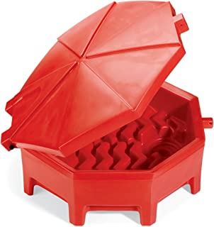 "New Pig Poly Drum Funnel with Hinged Lid, For 55 Gal Tight-Head Steel & Poly Drums, 29"" Diam x 11"" H, Red, DRM672-RD"