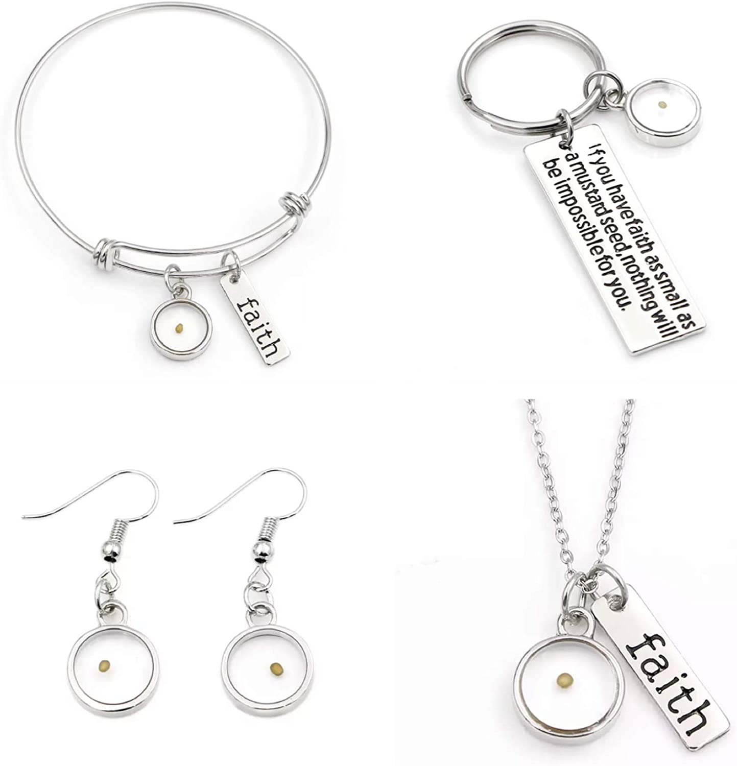Stainless Steel Faith Women Bracelets - Necklace - Earring - Bible Keyring set Set of 4 Mustard Seed Charm Gifts