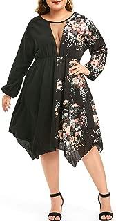 KCatsy Women Plus Size Mesh Insert Floral Print Handkerchief Dress