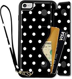 iPhone 8 Printed Case, ZVEdeng iPhone 8 Wallet Case with Card Holder, iPhone 7 Case with Wrist Strap, PU Leather iPhone 8 Flip Case, iPhone 7 Flip Cover Shockproof Case - Polka Dot