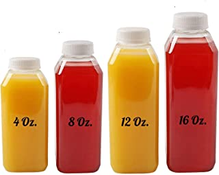 16 Oz Plastic Juice Bottles, 10 Pack Food Grade BPA Free Empty Square Milk Containers, Great For Storing Homemade Juices, ...