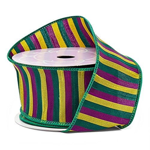 Striped Mardi Gras Wired Ribbon - 2 1/2' x 10 Yards, Double Faced Purple, Green and Gold Stripes, Easter, Christmas Decor, Hanukkah, Holiday Garland, Gifts, Wrapping, Wreaths, Bows