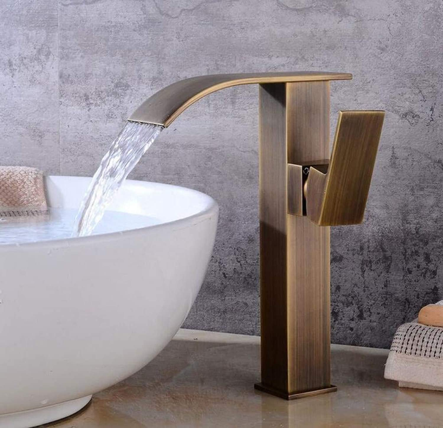 Modern Waterfall Copper Hot and Cold Kitchen Sink Taps Retro Bathroom Basin Faucet Brass Bathroom Above Counter Basin