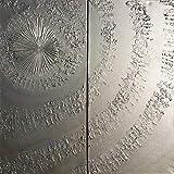 remolino de plata Abstracto A661 - díptico industrial con textura, arte original, pinturas abstractas con textura del artista Ksavera