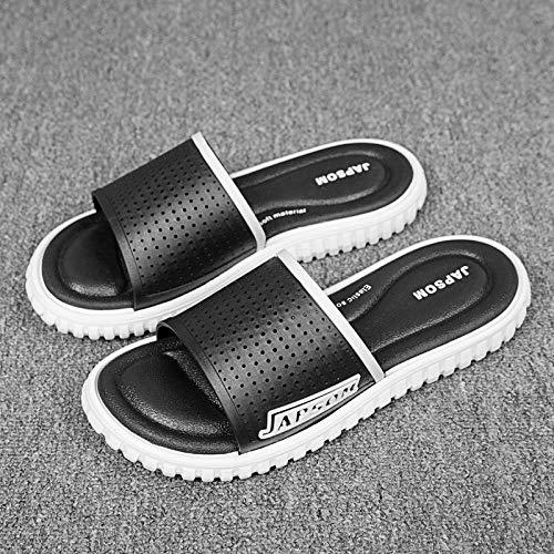 YYFF Zapatos de Playa y Piscina para,Sandalias de Playa de Suela Gruesa,Sandalias para el hogar de una Palabra-Blanco y Negro_40,Sandalias con Plataforma Plana Hombre