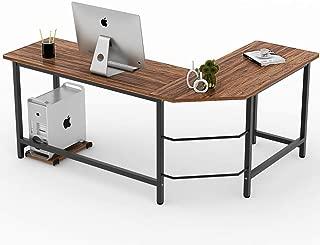 Tribesigns Vintage L-Shaped Desk Corner Computer Desk PC Laptop Study Table Workstation Home Office Wood & Metal,Oak Brown