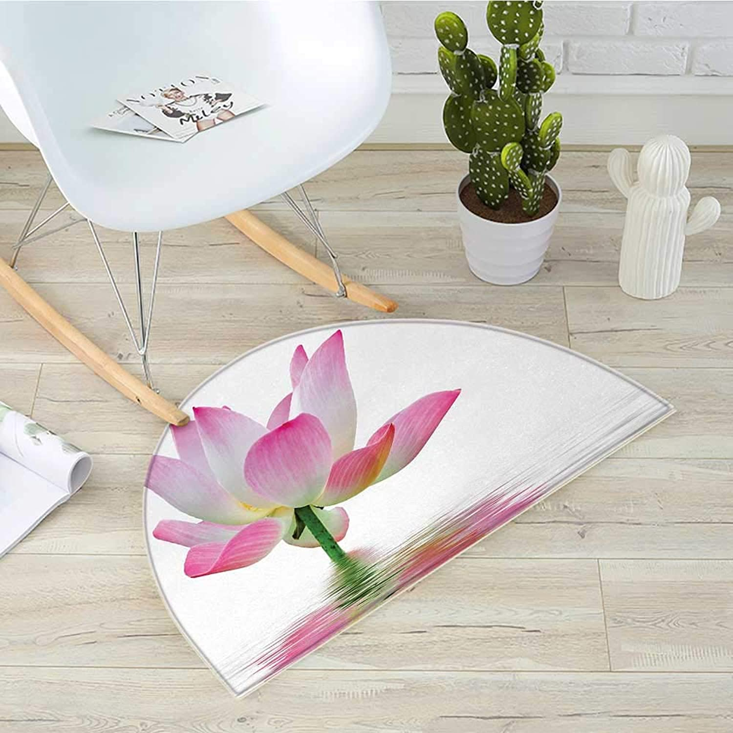 Pink and White Half Round Door mats Lotus Flower in Freshwater Aquatic Nature Relaxation and Spa Theme Bathroom Mat H 23.6  xD 35.4  Pink White Green