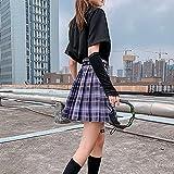 CIDCIJN Mini Jupe Crayon Femme,Mode D'Été Harajuku Woman Skirts High Waist Plaid Pleated Skirt School Girls Kawaii Cosplay Skirts for Womens Japanese Style, Deep Purple,XXL