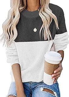 🍒 Spring Color 🍒 Womens Faux Fur Tops O Neck Stripe Patchwork Shirt Loose Fleece Long Sleeve Sherpa Pullover Sweatshirt