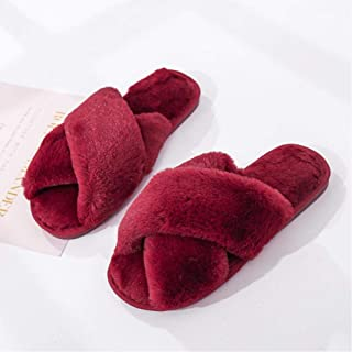 Winter Women'S House Slippers Faux Fur Fashion Warm Shoes Woman Slippers Comfortable Home Furry Slippers