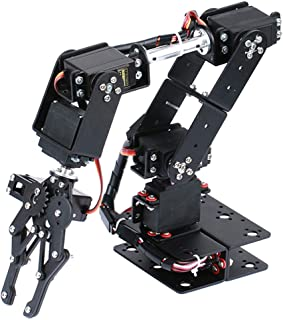 Prettyia 6 Degree of Freedom Robotic Arm Robot Hand Claw Mechanical Kits for Arduino Early Development Science Toy